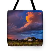 Beach Front Rain Tote Bag by Marvin Spates
