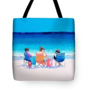 Beach Painting 'girl Friends' By Jan Matson Tote Bag
