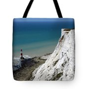 Beachy Head Cliffs And Lighthouse  Tote Bag