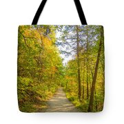 Beautiful Autumn Forest Mountain Stair Path At Sunset Tote Bag