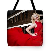 Beautiful Sexy Blond Girl Wearing A Long Dress Tote Bag