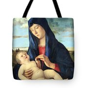 Bellini's Madonna And Child In A Landscape Tote Bag