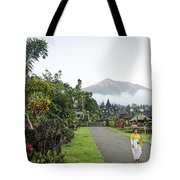 Besakih Temple And Mount Agung View In Bali Indonesia Tote Bag
