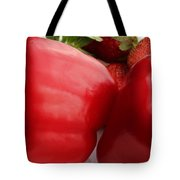 Big Red Peppers And Strawberries  Tote Bag