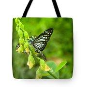 Blue Butterflies In The Green Garden Tote Bag