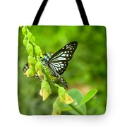 Blue Butterflies In The Green Garden Tote Bag