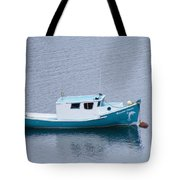 Blue Moored Boat Tote Bag