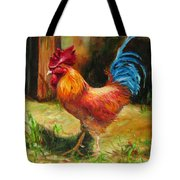 Blue-tailed Rooster Tote Bag