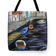 Boats In Front Of The Buildings IIi Tote Bag