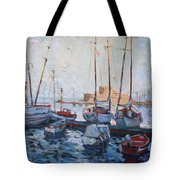 Boats In Rhodes Greece  Tote Bag