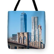 Brooklyn Bridge And New York City Manhattan Skyline Tote Bag
