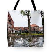 Brugge Canal Scene Tote Bag