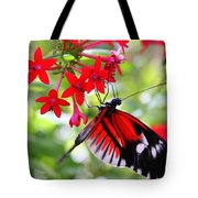 Butterfly On Red Bush Tote Bag