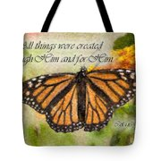 Butterfly Scripture Tote Bag