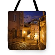Calcada Da Gloria Street At Night In Lisbon Tote Bag