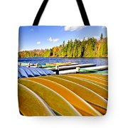 Canoes On Autumn Lake Tote Bag by Elena Elisseeva