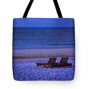 2 Chairs On A Blue Morning  Tote Bag