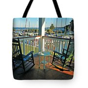 2 Chairs On The Fairhope Yacht Club Porch Tote Bag