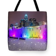 Charlotte Queen City Skyline Near Romare Bearden Park In Winter Snow Tote Bag
