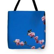 Cherry Blossom Against Blue Sky Tote Bag