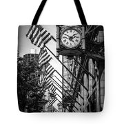 Chicago Macy's Clock In Black And White Tote Bag by Paul Velgos
