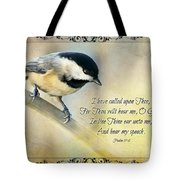 Chickadee With Verse Tote Bag