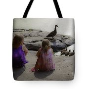 Children At The Pond 3 Tote Bag