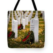 Christmas Wreaths Laid At The Arlington Cemetery Tote Bag