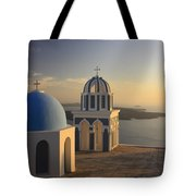 Churches At Sunset Firostefani Santorini Cyclades Greece  Tote Bag