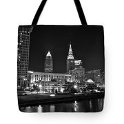 Cleveland In Black And White Tote Bag