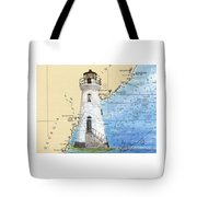 Cockspur Island Lighthouse Ga Nautical Chart Map Art Cathy Peek Tote Bag
