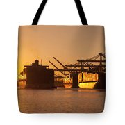 Container Ships Docked In Port Of Oakland Tote Bag