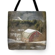Country Road And Barn In Winter Maine Tote Bag