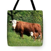 Cow And Calf Tote Bag by Hans Reinhard