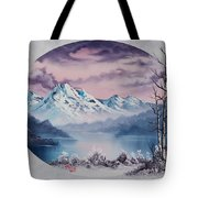 Crimson Frost Oval Tote Bag