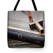 Cross On Bible Tote Bag by Elena Elisseeva