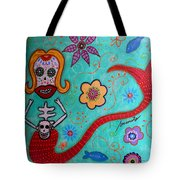 Day Of The Dead Mermaid Tote Bag