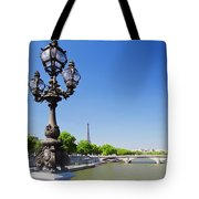 Eiffel Tower And Bridge On Seine River In Paris Tote Bag