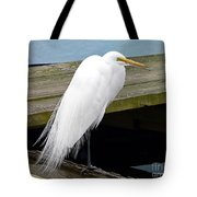 Elegant Egret Tote Bag