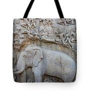 Elephant Sculpture At Mamallapuram  Tote Bag