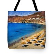 Elia Beach In Mykonos Island Tote Bag