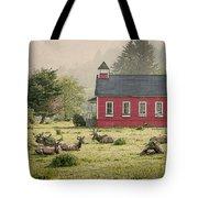Elk In The School Yard Tote Bag