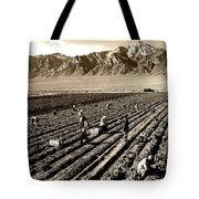 Farm Workers And Mt Williamson 1940s Tote Bag