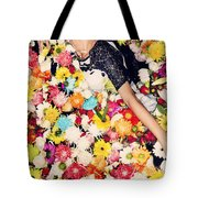 Fashion Model Posing With Flowers Tote Bag