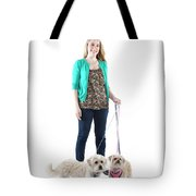 Female And Her Dogs Photographed Tote Bag