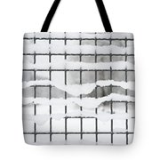 Fence With Snow Tote Bag