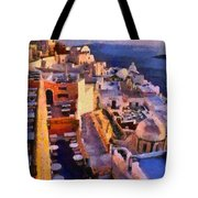Fira City During Sunset Tote Bag