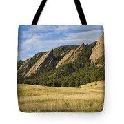 Flatirons With Golden Grass Boulder Colorado Tote Bag