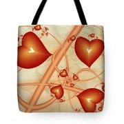 Fractal Red Hearts Tote Bag