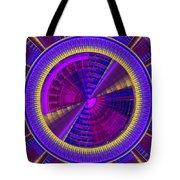 Futuristic Tech Disc Fractal Flame Tote Bag